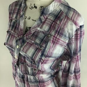 TORRID Womens Plaid Purple 1/2 Button-Front V Neck
